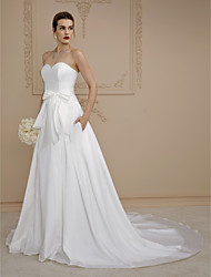 cheap -Ball Gown Sweetheart Cathedral Train Satin Wedding Dress with Buttons Pockets Sashes / Ribbons by LAN TING BRIDE®