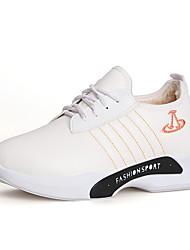 Dámské Tenisky Pohodlné hrbit boty PU Jaro Podzim Ležérní Chůze Pohodlné hrbit boty Šněrování Plochá podrážka Bílá Černá Plochý
