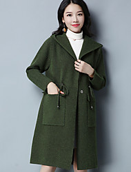 Women's Daily Casual Regular Cardigan,Solid Hooded Long Sleeves Others Winter Autumn/Fall Opaque Micro-elastic
