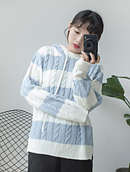 Women's Holiday Regular Pullover,Striped Hooded Long Sleeves Acrylic Fall Medium Stretchy