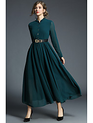 cheap -Women's Daily Work Casual Street chic Sheath Chiffon Shirt Dress,Solid Vintage Stand Maxi Midi Long Sleeve Polyester All Season Spring
