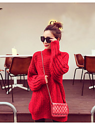 Women's Daily Wear Going out Regular Pullover,Solid Turtleneck Long Sleeves Cotton Winter Fall Thick strenchy