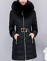 preiswerte -Damen Gefüttert Mantel,Standard Einfach Lässig/Alltäglich / Übergröße Solide-Polyester Polyester Langarm Blau / Rosa / Rot / Schwarz