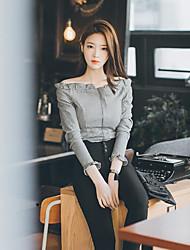economico -Camicia Da donna Casual Romantico Moda città Tinta unita A quadri Senza bretelline Cotone Manica lunga