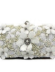 cheap -Women's Bags Polyester Evening Bag Pearls / Flower White / Wedding Bags