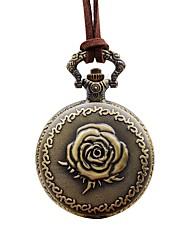 baratos -Mulheres Relógio de Bolso Chinês Quartzo Relógio Casual Couro Banda Flor Elegant Marrom