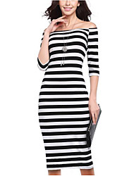 Women's Daily Wear Going out Sexy Bodycon Dress,Striped Boat Neck Knee-length 3/4 Sleeve Polyester All Season Mid Rise Micro-elastic Thin