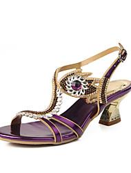 abordables -Mujer Zapatos Semicuero Primavera / Verano Botas de Moda Sandalias Puntera abierta Pedrería / Cristal / Purpurina Dorado / Morado / Azul