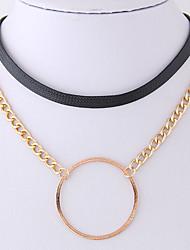 preiswerte -Damen Kreisform Einfach Freizeit Halsketten Leder Aleación Halsketten . Party