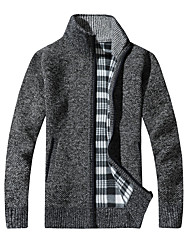 cheap -Men's Daily Casual Regular Cardigan,Solid Stand Long Sleeves Cotton Spring, Fall, Winter, Summer Thick strenchy
