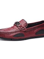 preiswerte -Herrn Schuhe Kunstleder Leder Winter Frühling Komfort Loafers & Slip-Ons für Normal Schwarz Braun Rot Khaki
