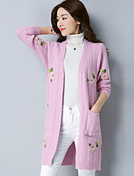 Women's Daily Wear Long Cardigan,Solid Print V Neck Long Sleeves Polyester Autumn Winter Thick Stretchy