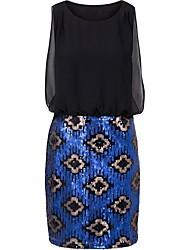 cheap -Women's Chic & Modern Bodycon Dress - Color Block