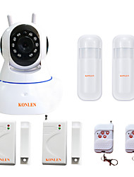 cheap -KONLEN® IP504 Android IOS WIFI House Home Security Alarm System CCTV Video IP Camera TF SD Record with Wireless Mini Door Sensor PIR Detector