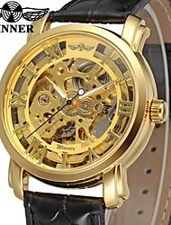 preiswerte -Herrn Kleideruhr Armbanduhr Mechanische Uhr Chinesisch Automatikaufzug Transparentes Ziffernblatt Leder Band Luxus Retro Schwarz