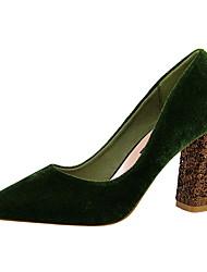 abordables -Femme Chaussures Similicuir Printemps Automne Confort Chaussures à Talons Marche Talon Bottier Bout pointu Bottine/Demi Botte Paillette