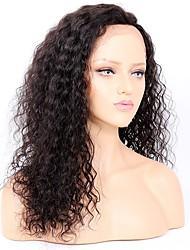 levne -Panenské vlasy Se síťovanou přední částí Paruka Brazilské vlasy Kudrny 130% / 150% / 180% Hustota Afroamerická paruka Černá Dámské Krátký / Dlouhý Paruky z přírodních vlasů