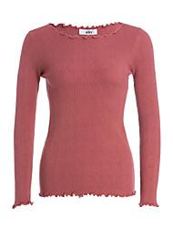 preiswerte -Damen Standard Pullover-Lässig/Alltäglich Einfach Solide Bateau Langarm Acryl Herbst Winter Dünn Mikro-elastisch