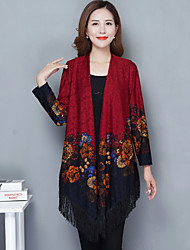 Women's Daily Wear Long Cardigan,Print V Neck Long Sleeves Acrylic Fall Thick Stretchy