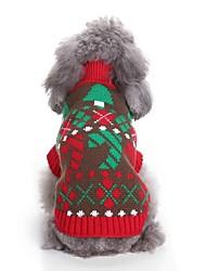 baratos -Gato Cachorro Súeters Roupas para Cães Casual Color Block Ano Novo Natal Estampa Colorida Vermelho Ocasiões Especiais Para animais de