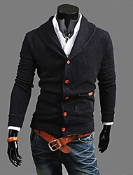 cheap -Men's Daily Vintage Casual Regular Cardigan,Solid V Neck Long Sleeves Japanese Cotton Winter Fall Thin Micro-elastic