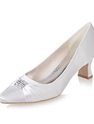preiswerte -Damen Schuhe Satin Frühling / Sommer Pumps Hochzeit Schuhe Block Ferse Quadratischer Zeh Strass Blau / Champagner / Elfenbein