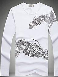 Masculino Camiseta Para Noite Casual Moda de Rua Estampado Poliéster Decote Redondo Manga Longa