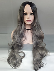 cheap -Synthetic Hair Wigs Body Wave Side Part Dark Roots Ombre Hair Cosplay Wig Long Black/Grey
