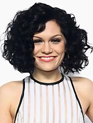 abordables -Pelucas sintéticas Rizado Negro Mujer Sin Tapa Peluca de celebridades Peluca natural Corta Pelo sintético