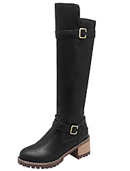 cheap -Women's Shoes PU Winter Fall Riding Boots Fashion Boots Comfort Boots Round Toe Knee High Boots Buckle for Casual Outdoor Black Gray Brown