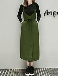 Tee-Shirt Robes Costumes Femme,Couleur Pleine Sortie Décontracté / Quotidien simple Actif Automne Manches Longues Col Arrondi Coton