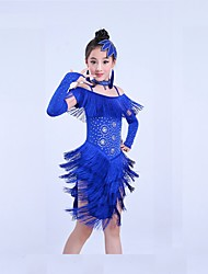 cheap -Latin Dance Outfits Training Spandex Tassel Short Sleeve Natural Dress Headwear Shorts