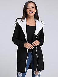 cheap -Women's Plus Size Long Sleeves Cotton Long Hoodie - Color Block