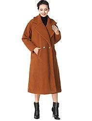 Women's Daily Wear Casual/Daily Simple Winter Coat,Solid Peter Pan Collar Long Sleeves Regular Wool
