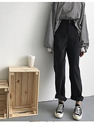 baratos -Feminino Casual Cintura Alta Sem Elasticidade Perna larga Chinos Calças,Sólido Fibra Sintética Todas as Estações