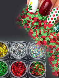 economico -6bottles / set scintillio colorato di natale chiodi di paillette arte 3D paillette chiodo arte diy chiodo arte lucido decorazione manicure