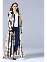 Women's Daily Swing Dress,Striped Shirt Collar Knee-length Long Sleeves Cotton All Seasons Mid Rise Inelastic Medium