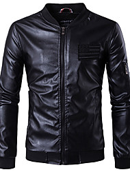 cheap -Men's Punk & Gothic Plus Size Leather Jacket - Solid Stand