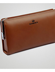 cheap -Men Bags Cowhide Wallet Zipper for Casual All Season Black Coffee Khaki