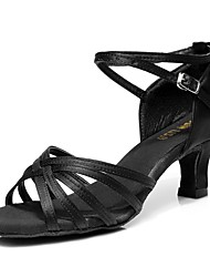 cheap -Women's Latin Shoes Silk Sandal Customized Heel Customizable Dance Shoes Black / Brown / Nude / Indoor / Leather
