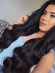 preiswerte -Remi-Haar Perücke Peruanisches Haar Große Wellen Mit Strähnen 100% Jungfrau Afro-amerikanische Perücke Natürlicher Haaransatz Medium Lang