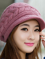 cheap -Women's Rabbit Fur Cotton Blend Bucket Hat Baseball Cap,Cute Party Work Casual Solid Winter Fall Knitted Blushing Pink Beige Gray Purple