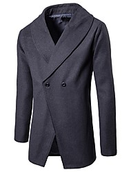 Men's Daily Daily Wear Vintage Spring Fall Coat,Solid Shirt Collar Long Sleeves Long Polyester