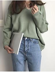 Standard Pullover Da donna-Casual Semplice Monocolore Dolcevita Manica lunga Cotone Primavera/Autunno Medio spessore Media elasticità