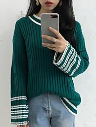Недорогие -Для женщин На каждый день Обычный Пуловер Контрастных цветов,Круглый вырез Длинный рукав Акрил Средняя Слабоэластичная