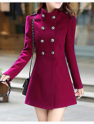 cheap -Women's Daily Simple Casual Winter Fall Coat,Solid Stand Long Sleeve Regular Cashmere