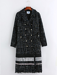 cheap -Women's Daily Simple Casual Winter Coat,Polka Dot Striped Shirt Collar Long Sleeves Long Linen Polyester