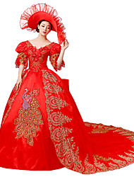 Victorian Rococo Costume Women's Party Costume Masquerade Red Vintage Cosplay Lace Silk Organza Linen Satin Puff/Balloon Court Train