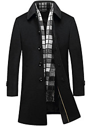 cheap -Men's Work Party/Cocktail Simple Casual Winter Fall Pea Coat,Solid Shirt Collar Long Sleeve Regular Wool Polyester