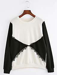 preiswerte -Damen Langarm Pullover - Spitze Druck, Einfarbig Baumwolle